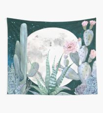 Cactus Nights Pretty Pink and Blue Desert Stars Cacti Illustration Wall Tapestry