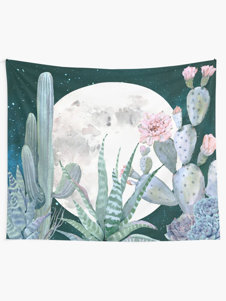 Alternate view of Cactus Nights Pretty Pink and Blue Desert Stars Cacti Illustration Wall Tapestry