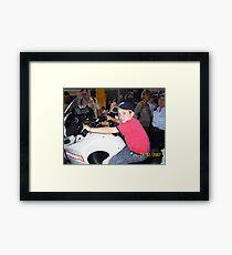 Tigerboy9 on police motorbike Framed Print