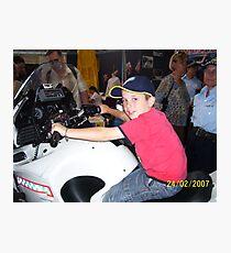 Tigerboy9 on police motorbike Photographic Print