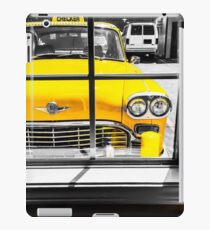 vintage yellow taxi car with black and white background iPad Case/Skin