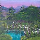 Blue Lagoon oil landscape painting by coolart