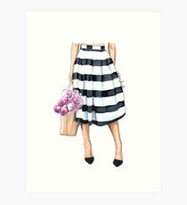 Flowers, bag and stripy skirt Art Print