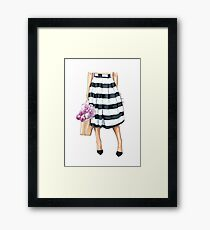 Flowers, bag and stripy skirt Framed Print