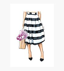Flowers, bag and stripy skirt Photographic Print