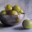 Silver Bowl with Green Apples by Pamela Burger