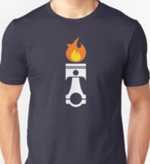 Flaming Piston (fire wht) T-Shirt