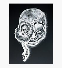 White Inverted Skull Photographic Print