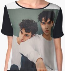 twins in white only  Women's Chiffon Top