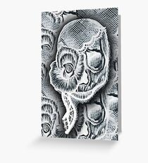 White Skull Collage Greeting Card