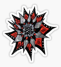Spiked Abstract Flower In Red And Black  Sticker