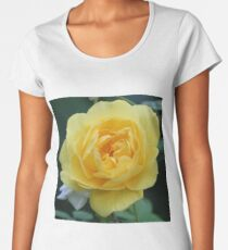 Beautiful single yellow garden rose flower macro Women's Premium T-Shirt