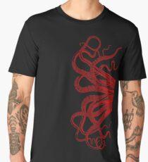 Red Vintage Octopus  Tentacles Illustration Men's Premium T-Shirt