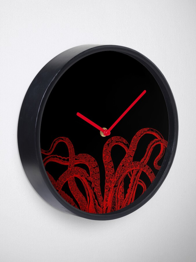 Alternate view of Red Vintage Octopus  Tentacles Illustration Clock