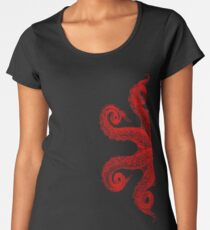 Red Vintage Octopus Tentacles Illustration Women's Premium T-Shirt