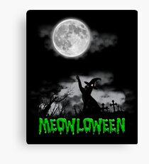 Halloween Black Cat & Moon-Meowloween Canvas Print