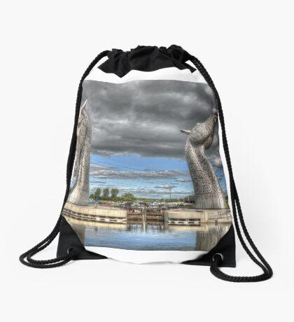the Kelpies , Helix Park , Grangemouth  654 Drawstring Bag