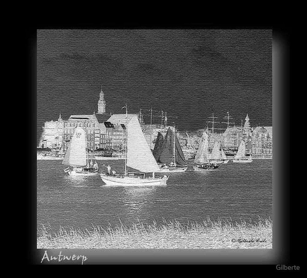 Antwerp - Sailboats by night by Gilberte