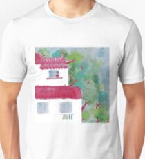 Village houses in the woods watercolor T-Shirt