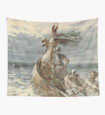 Vintage Raiding Vikings Painting (1873) Wall Tapestry
