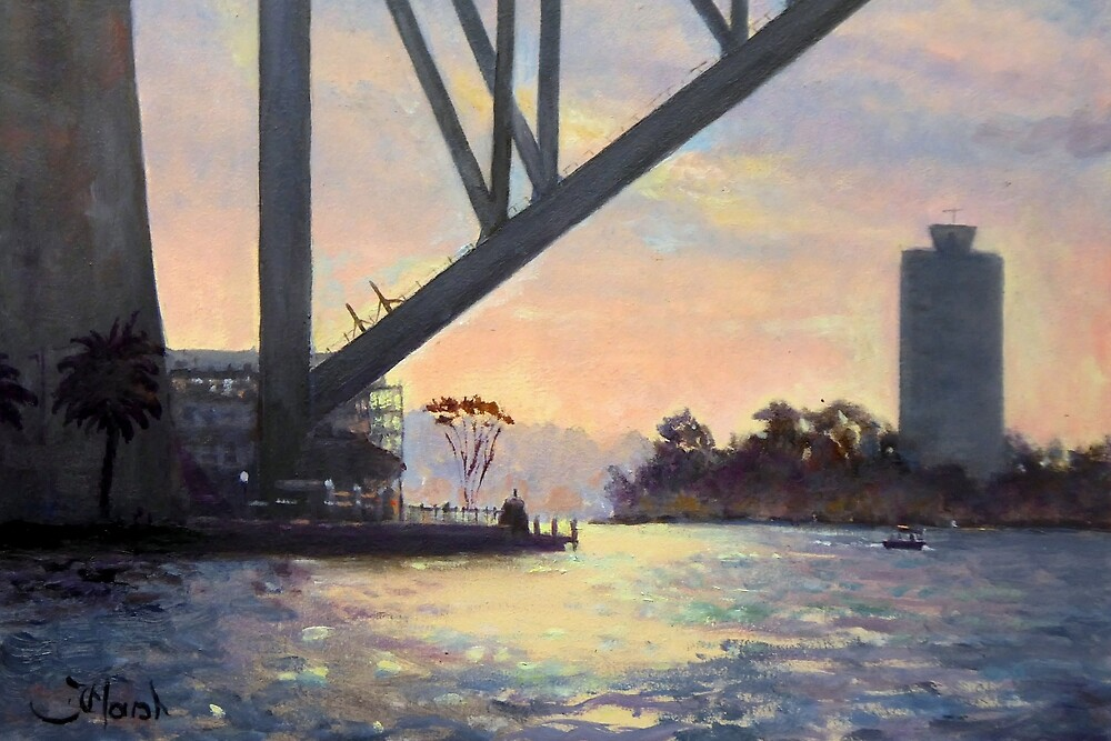 Under the Bridge, Sydney Harbour Painting by Fred Marsh