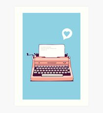 Pink Retro Typewriter Art Print