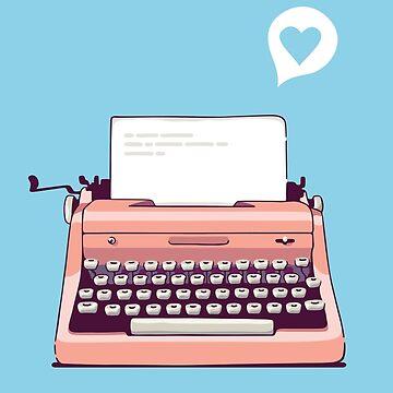 Rosa Retro Schreibmaschine von sundrystudio