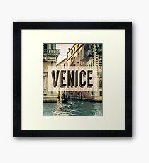Retro Venice Grand Canal Poster Framed Print