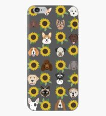 Dogs and cats floral sunflower pattern cute gifts for pet lovers dog breeds  iPhone Case