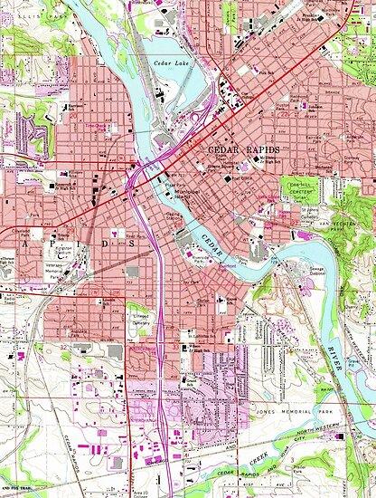 Hiawatha Iowa Map.Vintage Map Of Cedar Rapids Iowa 1967 Posters By Bravuramedia