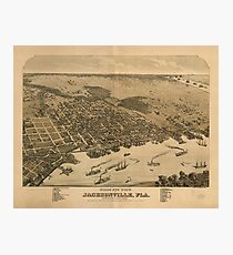 Vintage Pictorial Map of Jacksonville FL (1874) Photographic Print