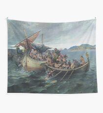 Vintage Viking Naval Battle Artwork Wall Tapestry