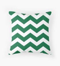Green And White Chevron Throw Pillow