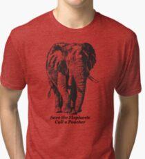Save the Elephants, Cull a Poacher message Tri-blend T-Shirt
