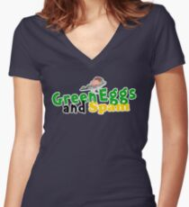 Green Eggs and Spam Women's Fitted V-Neck T-Shirt
