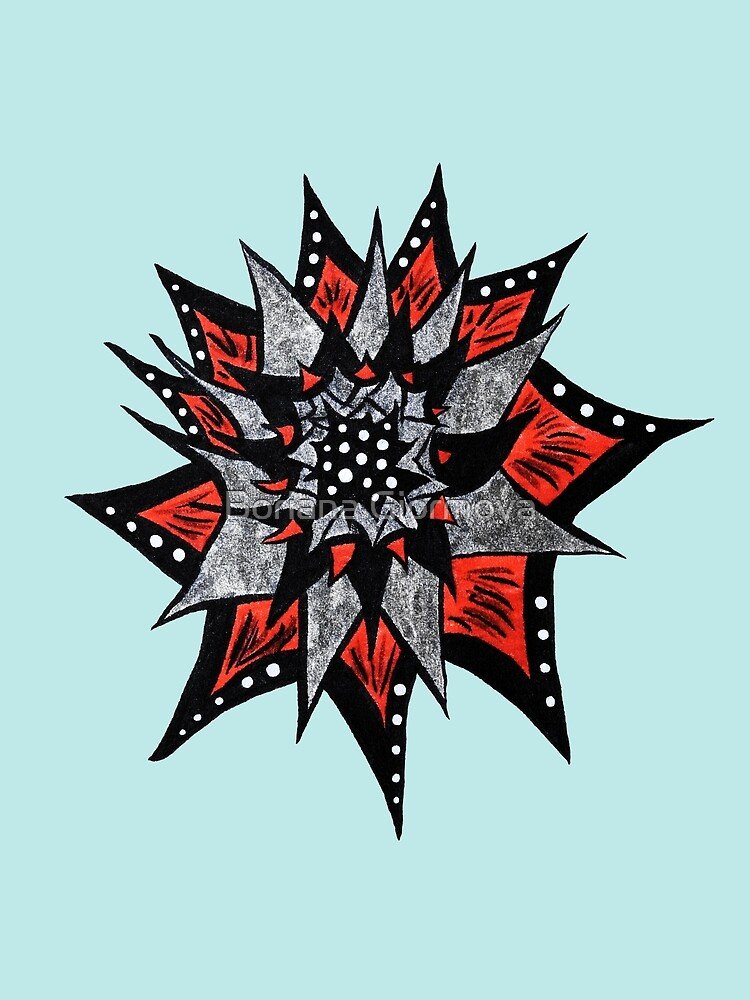 Spiked Abstract Flower In Red And Black  by Boriana Giormova