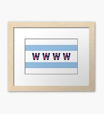 Cubs Win Chicago Flag With Red/Blue C Framed Print