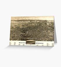 Panoramic Maps Saratoga Springs NY 1888 Greeting Card