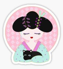 Geisha with cat Sticker