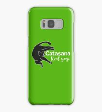 Cat in Catasana pose and REAL YOGA sign Samsung Galaxy Case/Skin