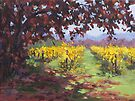 Fall Vineyard Painting by Karen Ilari