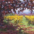 Fall Vineyard Painting by Karen Ilari