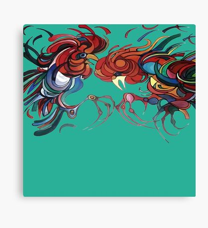 Fowl Play Farmyard Roosters Canvas Print