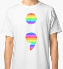 Striped Semicolon Classic T-Shirt