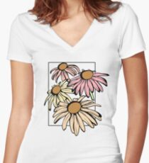 Pastel Flowers Women's Fitted V-Neck T-Shirt