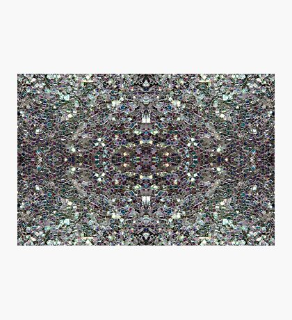 Sparkly colourful silver mosaic mandala Photographic Print