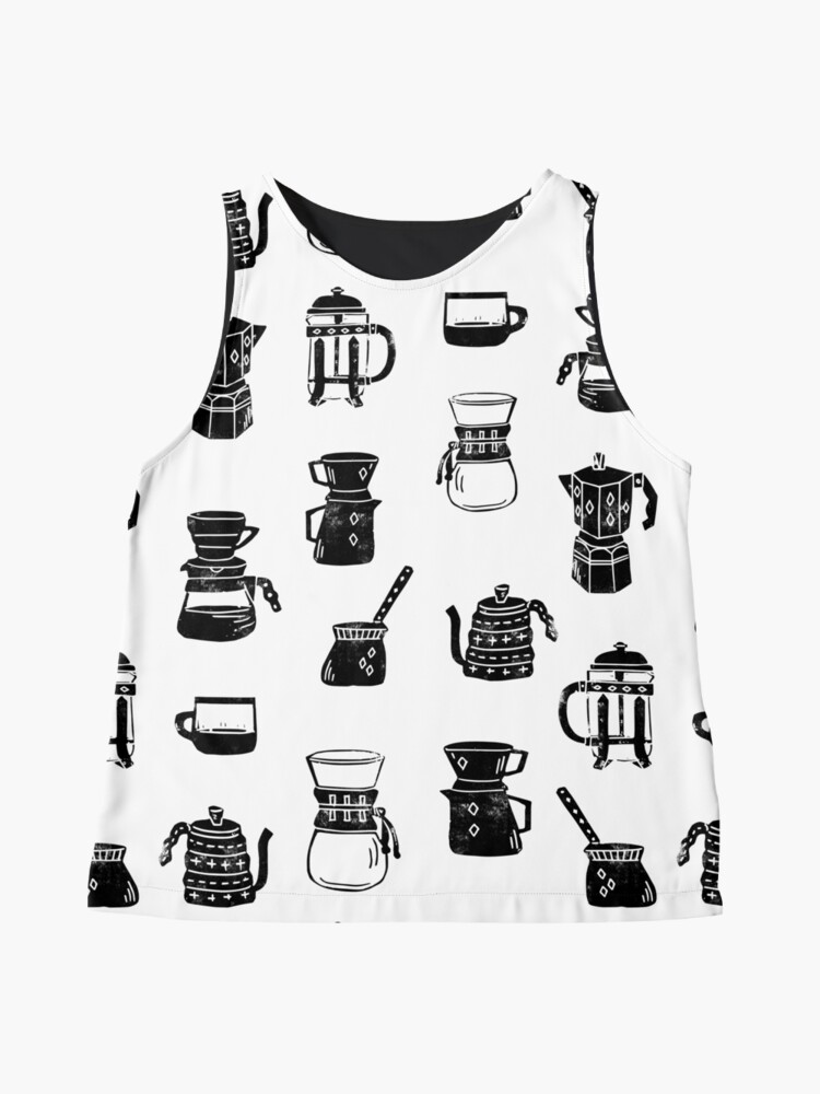Alternate view of coffee makers espresso linocut black and white minimal cafe Sleeveless Top