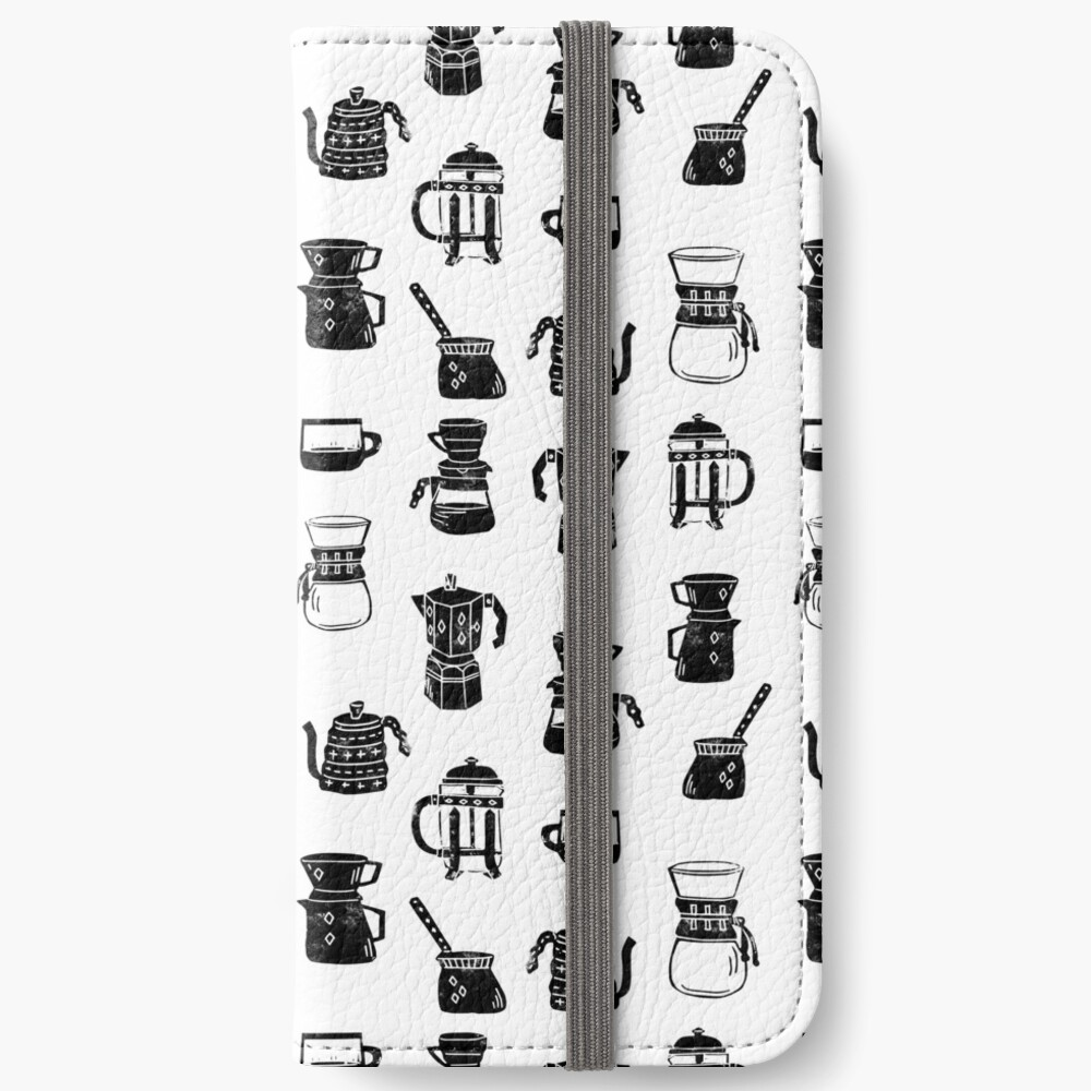 coffee makers espresso linocut black and white minimal cafe iPhone Wallet