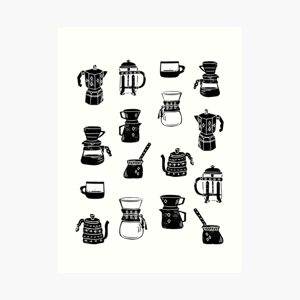 coffee makers espresso linocut black and white minimal cafe Art Print