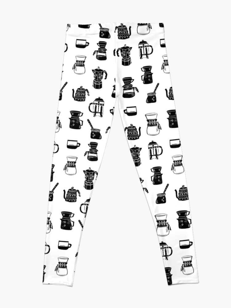 Alternate view of coffee makers espresso linocut black and white minimal cafe Leggings
